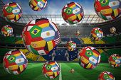 foto of football pitch  - Footballs in international flags against large football stadium with brasilian fans - JPG