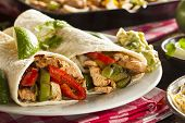 foto of sandwich wrap  - Homemade Chicken Fajitas with Vegetables and Tortillas - JPG