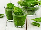 stock photo of kale  - Healthy green smoothie with spinach - JPG