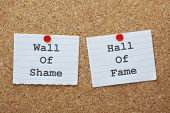 stock photo of shame  - Wall of Shame or Hall of Fame choices on a cork notice board - JPG