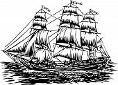 stock photo of sail ship  - vector illustration of three masted tall sailing ship - JPG