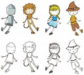 stock photo of oz  - Cute sketchy characters from the Wizard of Oz - JPG