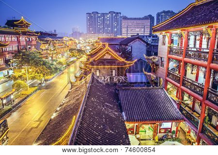 Chengdu, China cityscape above Qintai Road.