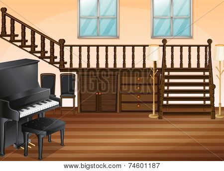 Illustration of a piano in a living room