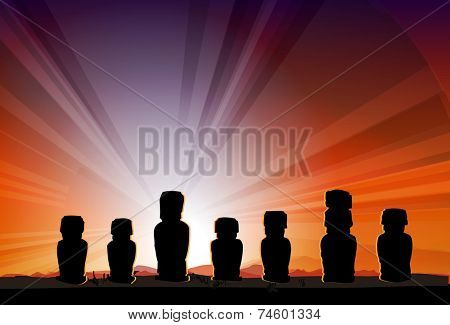 Easter Island Monument Statues Moai in Beams Of Sun Vector