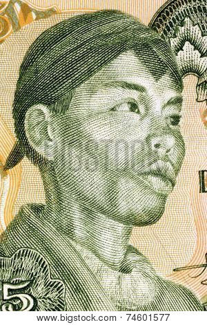 INDONESIA - CIRCA 1968: Sudirman (1916-1950) on 25 Rupiah 1968 Banknote from Indonesia. Indonesian military officer during the Indonesian National Revolution.