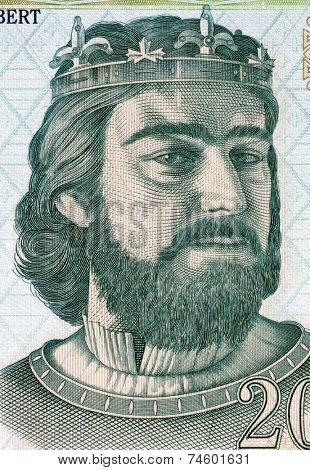 HUNGARY - CIRCA 2004: Charles I of Hungary (1288-1342) on 200 Forint 2004 Banknote from Hungary. First King of Hungary and Croatia.