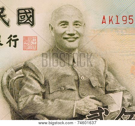 TAIWAN - CIRCA 2001: Chaing Kai-shek (1887-1975) on 200 Yuan 2001 Banknote from Taiwan. Political and military leader of 20th century China.