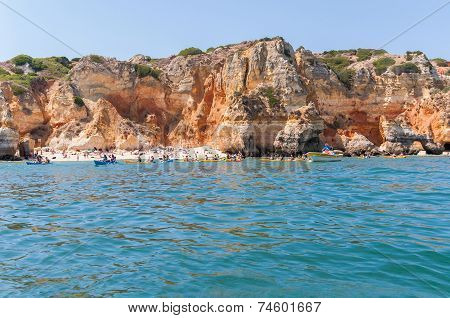 Beach Among The Rocks In Lagos, Portugal