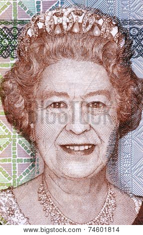 FIJI - CIRCA 2011: Elizabeth II (born 1926) on 5 Dollars 2011 Banknote from Fiji. Queen of the United Kingdom.