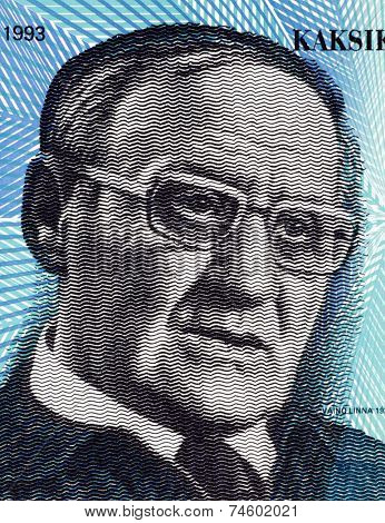 FINLAND - CIRCA 1993: Vaino Linna (1920-1992) 20 Markkaa 1993 Banknote from Finland. One of the most influential Finnish authors of the 20th century.