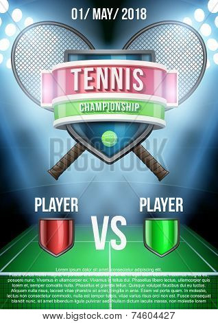 Background for posters tennis stadium game announcement. Vector
