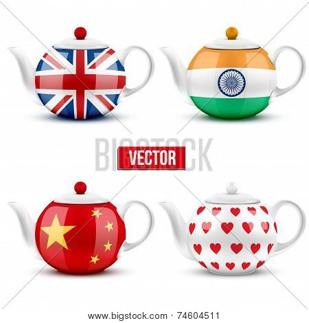 set of different ceramic teapot with flags