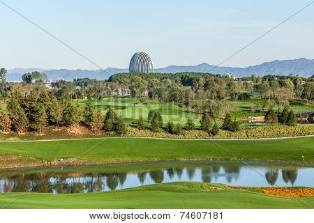 Yanqi Lake BEIJING, CHINA -  SEPT 27: Sunrise Oriental Hotel and golf course, Sept 27, 2014 in Yanqi Lake Beijing, China. Here will host the APEC CHINA 2014