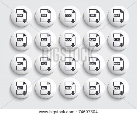 Vector set of Document File Formats and Labels  black icons on a