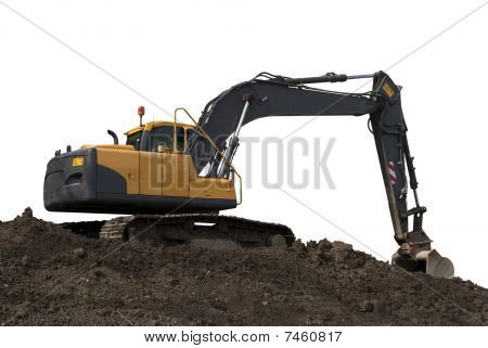 Big Excavator On Dirt Isolated On White