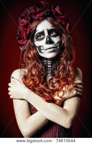 Sad Young Woman With Muertos Makeup (sugar Skull)