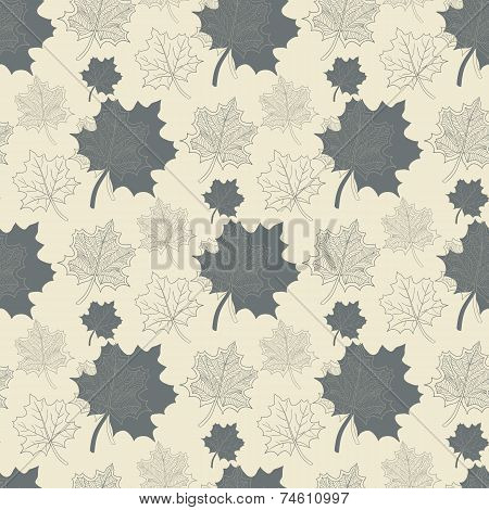 Seamless pattern with grey leaf,abstract leaf,leaf fall