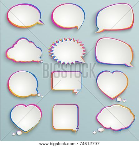 Paper Speech Bubbles, Colorful Painting, Abstract Elements Of Infographics, Forms Of Clouds, Heart