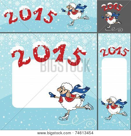 2015 Year of Sheep. Cartoon sheep skating.Banner set