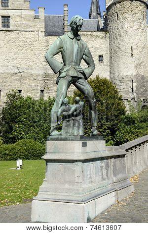 Statue of Lange Wapper in Antwerp, Belgium