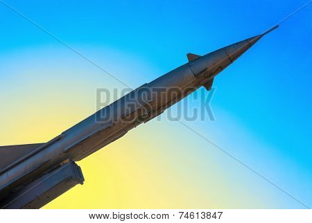 Rusty Antiaircraft Rocket Of A Surface-to-air Missile System Are Aimed At The Blue Sky