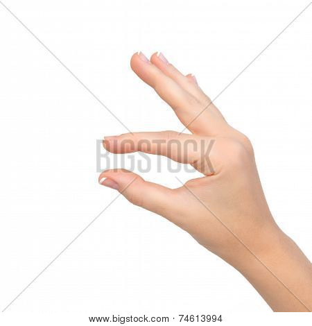 Isolated Woman Hand Shows Pinch To Zoom Or Holding Object