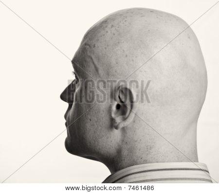 Male Portrait Close Up On White Backdrop