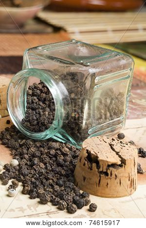 black pepper in their glass container