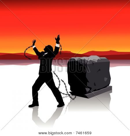 Businessman breaks free Illustration : Bigstock