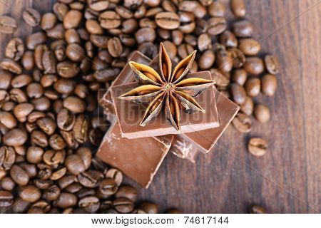 Closeup shot to anise, chocolate and coffee beans
