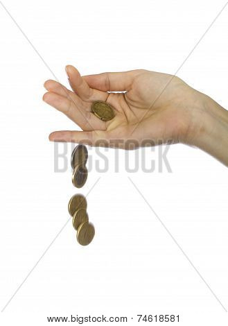Hand Throwing Gold And Silver Coins
