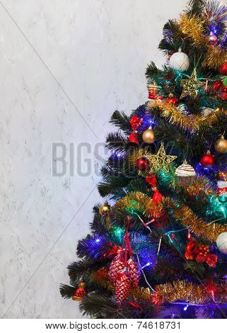 Christmas tree with decoration and colored lights