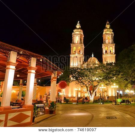 Campeche, Mexico - February 17,2014: Night View Of Main Square In Campeche, Mexico