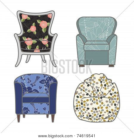 Set of colorfull and patterned vector armchairs