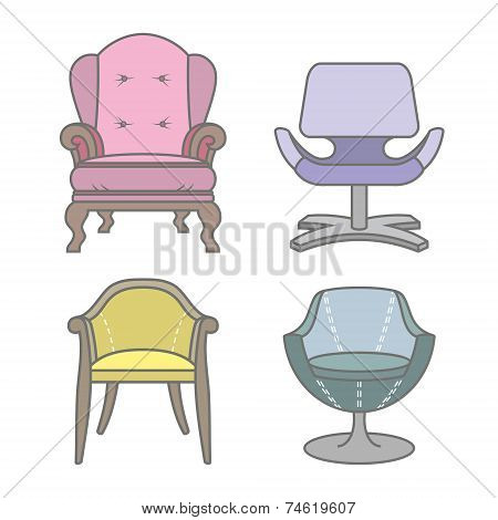 Set of colorfull vector armchairs