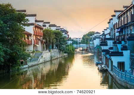 Beautiful Nanjing Qinhuai River In Sunset