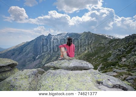 Woman Looking At Summit Mountain