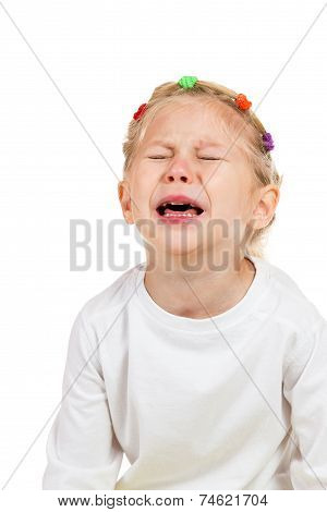 Portrait of little girl crying