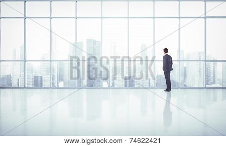 Businessman Looking At Megalopolis Through Window