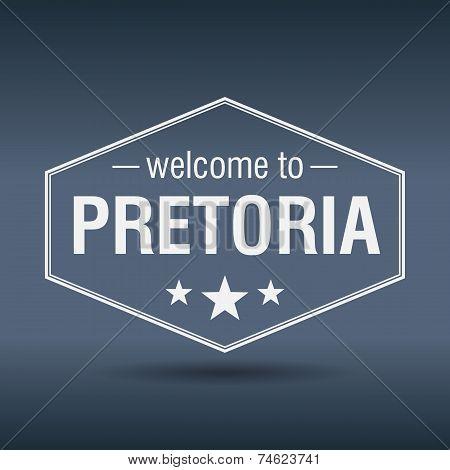 Welcome To Pretoria Hexagonal White Vintage Label