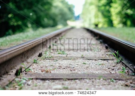 Close-up Of Railway Tracks