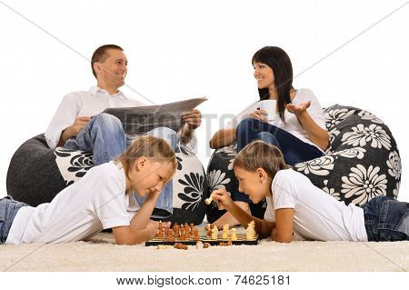 family is resting together