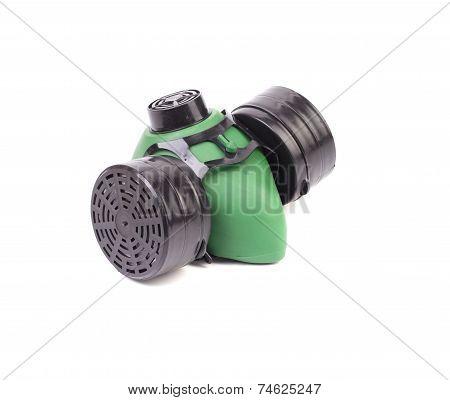 Close up of green respirator.