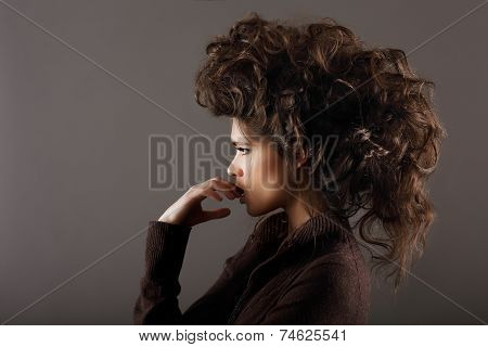 Upset. Profile Of Young Thoughtful Woman
