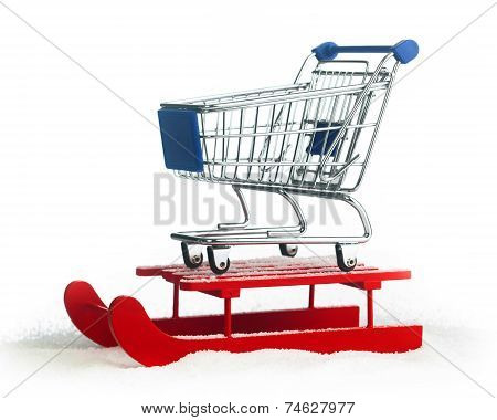Wooden Red Sled With Shopping Cart