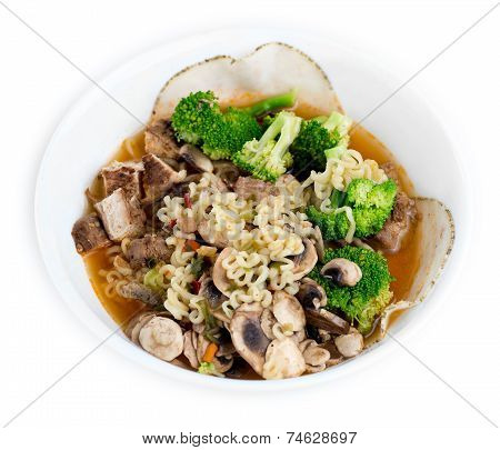 Chicken, Broccoli, Mushroom And Sliced Meat Enhanced Japanese Ramen