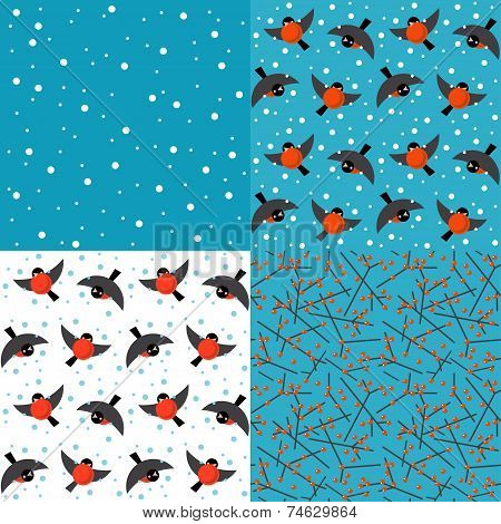 Set of vector winter backgrounds