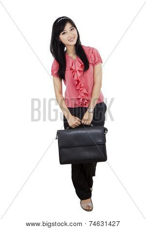 Pretty Female Entrepreneur Hold Briefcase