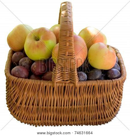 Basket With Fresh Plums And Apples.